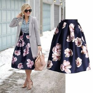 Floral Midi Skirt Chicwish